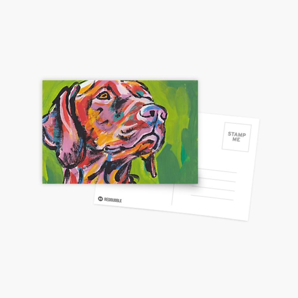 Vizsla Dog Arte pop colorido brillante Postal
