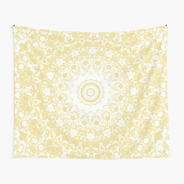 White Lace Mandala on Sunshine Yellow Background Tapestry