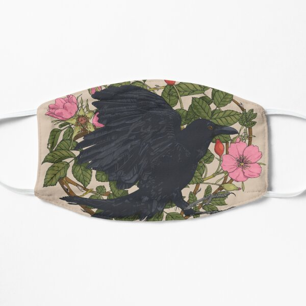 Raven and roses Flat Mask