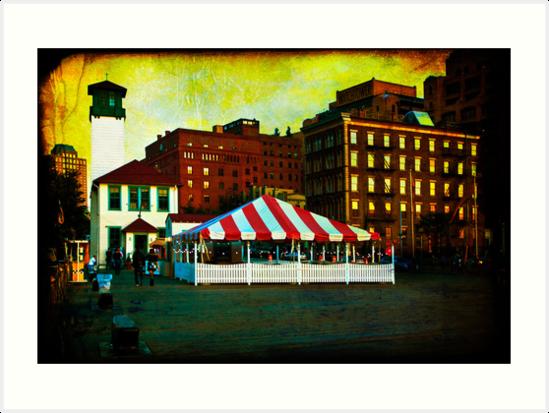 Evening on Fulton Ferry Pier in Brooklyn by Mark Tisdale