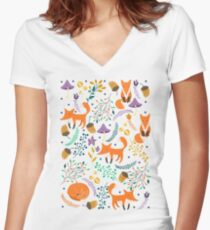 Foxes in the magic forest Women's Fitted V-Neck T-Shirt