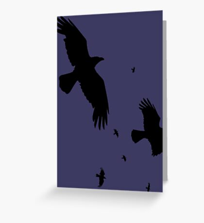 A Murder of Crows In Flight Vector Silhouette Greeting Card
