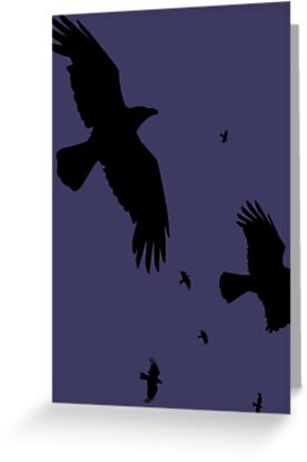 A Murder of Crows In Flight Vector Silhouette by taiche