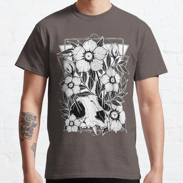 Cat skull and pretty flowers Classic T-Shirt