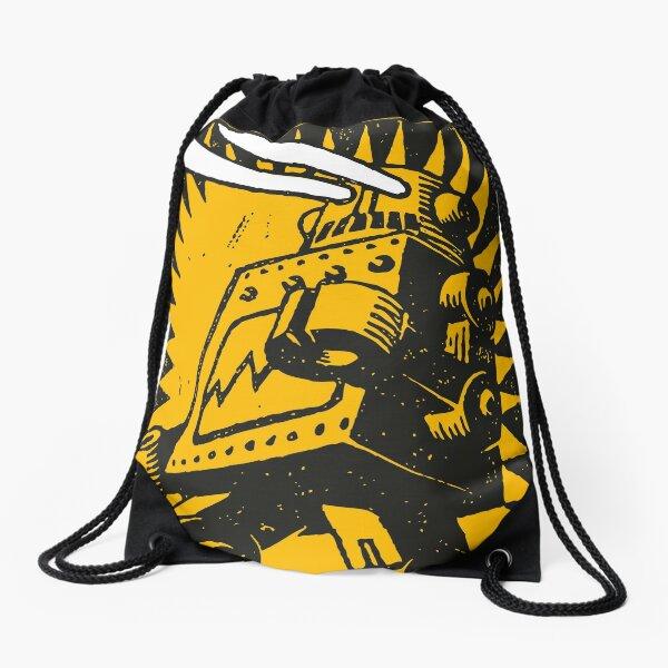 Black Robot Drawstring Bag
