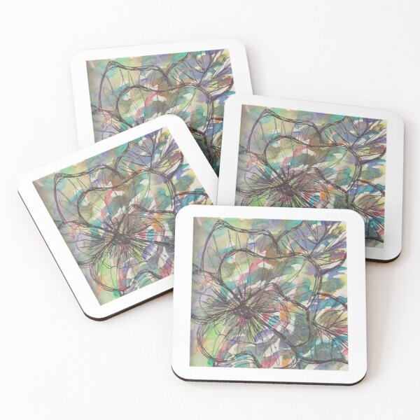 Rainbow watercolor pansy Coasters (Set of 4)