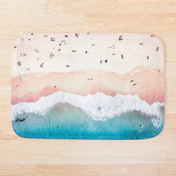 Aerial Sandy Beach Bath Mat