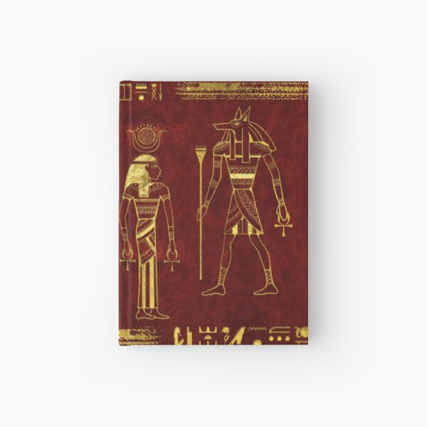 Golden Egyptian Gods and hieroglyphics on red leather Hardcover Journal