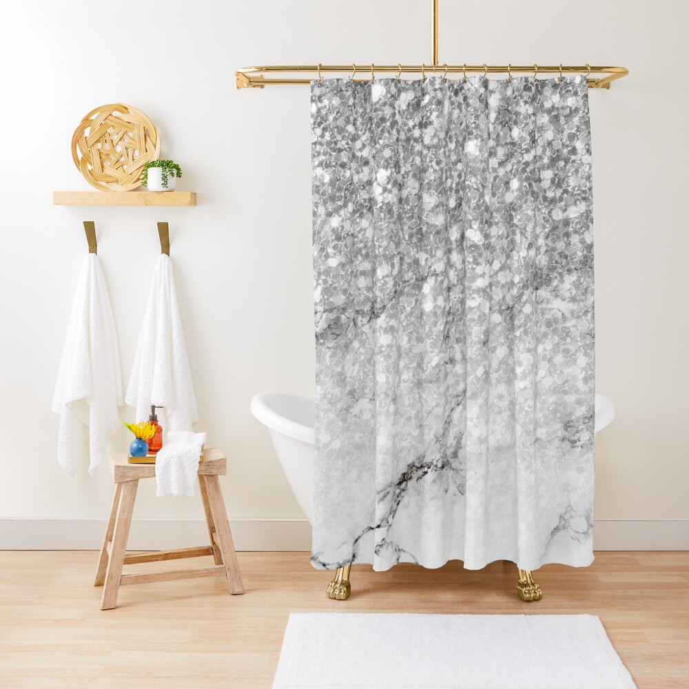 White faux marble and silver glitter ombre Shower Curtain