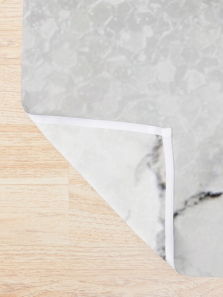 Alternate view of White faux marble and silver glitter ombre Shower Curtain