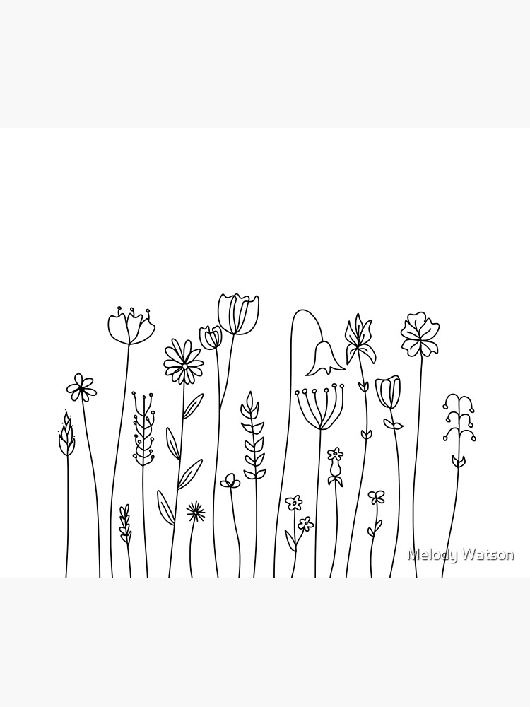 Simple Line Art Drawings Of Flowers In Black And White Duvet Cover By Odyanne Redbubble