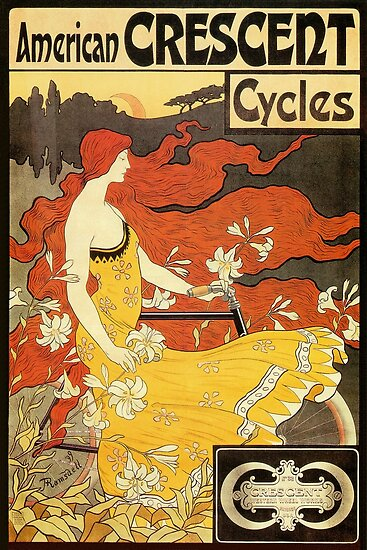 Vintage American Art Nouveau Bicycles Ad By Aapshop