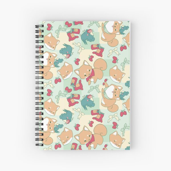 Shiba & Bird Strawberry Picnic Spiral Notebook