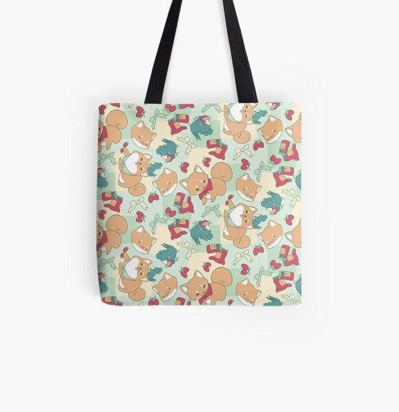 Shiba & Bird Strawberry Picnic All Over Print Tote Bag