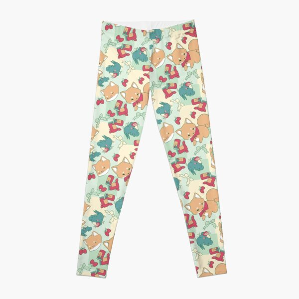 Shiba & Bird Strawberry Picnic Leggings