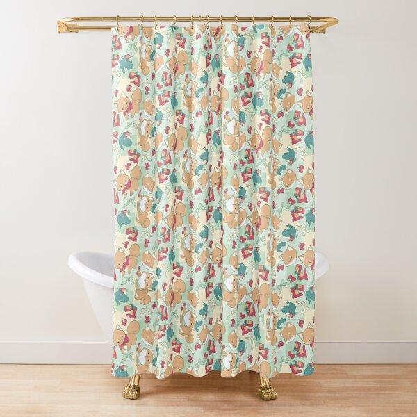 Shiba & Bird Strawberry Picnic Shower Curtain