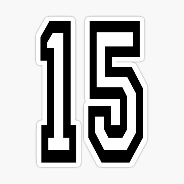 NUMBER 15. TEAM. SPORTS. FIFTEEN. FIFTEENTH. 15th. Competition. Sticker