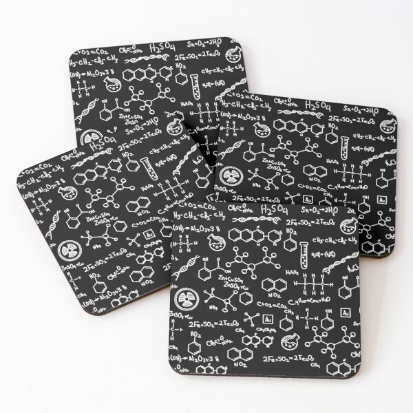 Science Chemistry Pattern  Coasters (Set of 4)