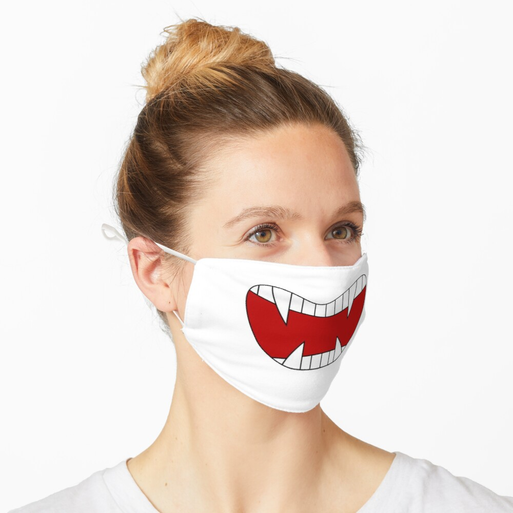Funny vampire mouth, sharp teeth, Super print on anti-coronavirus protective mask and in a humorous way Mask