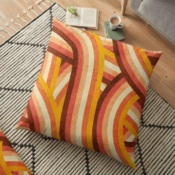 Vintage Orange 70's Style Rainbow Stripes Floor Pillow