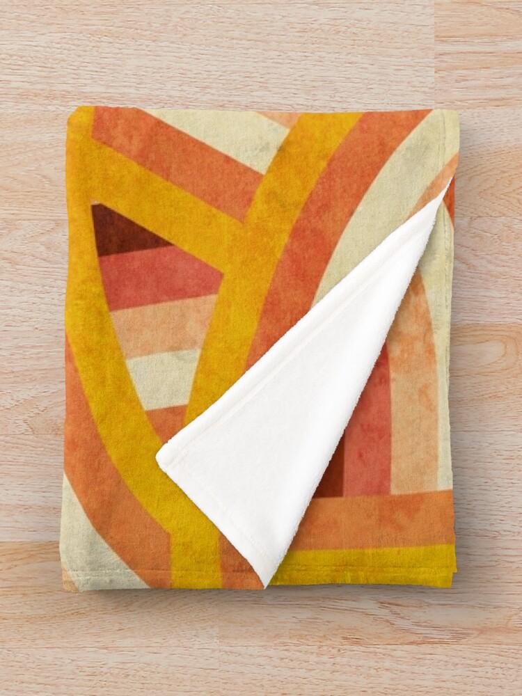 Alternate view of Vintage Orange 70's Style Rainbow Stripes Throw Blanket