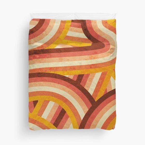 Vintage Orange 70's Style Rainbow Stripes Duvet Cover