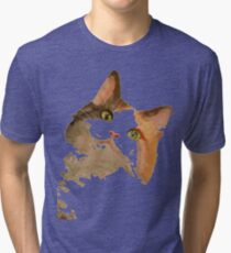 I'm All Ears - Cute Calico Cat Portrait Tri-blend T-Shirt