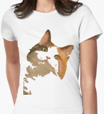 I'm All Ears - Cute Calico Cat Portrait Womens Fitted T-Shirt