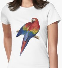 Illustration of A Scarlet Macaw Isolated On White Womens Fitted T-Shirt