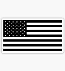 American Flag, STARS & STRIPES, USA, America, Black on white. Sticker