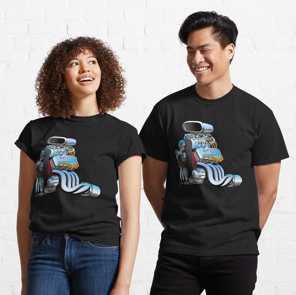 Hot rod race car engine cartoon Classic T-Shirt