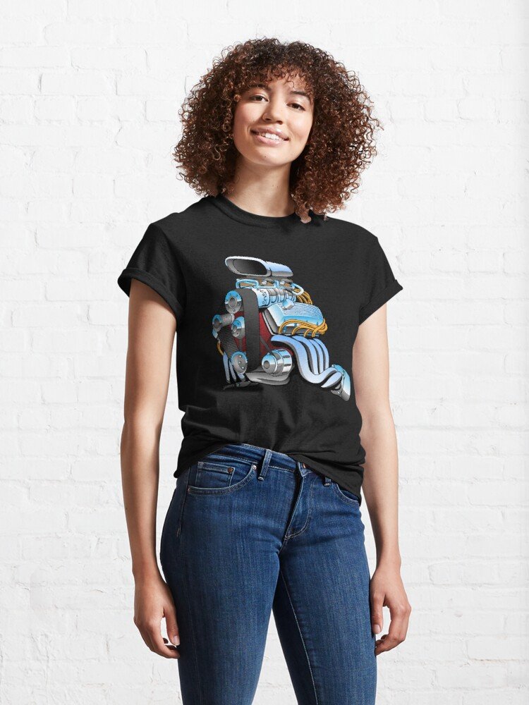 Alternate view of Hot rod race car engine cartoon Classic T-Shirt