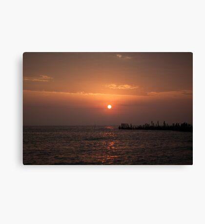 Sunrise at Engure's mols Canvas Print