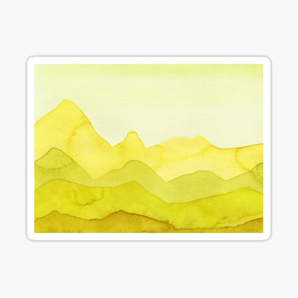 Berge in Gelb, Lemon, Grün Sticker
