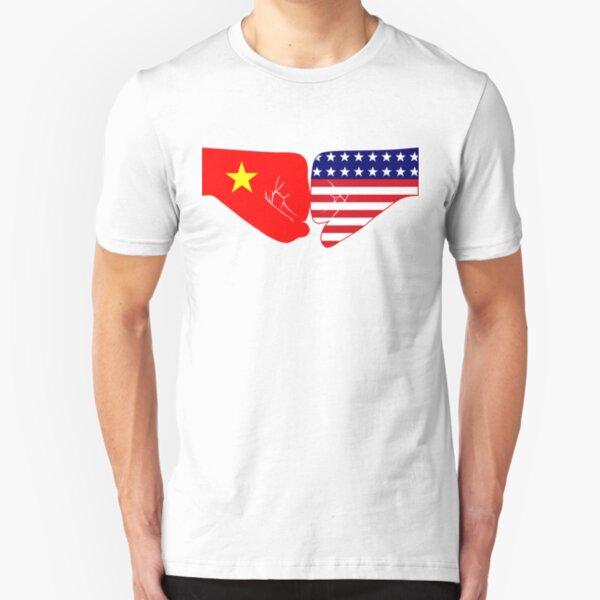 Vietnam & USA Fist Bump Patriot Flag Series Slim Fit T-Shirt