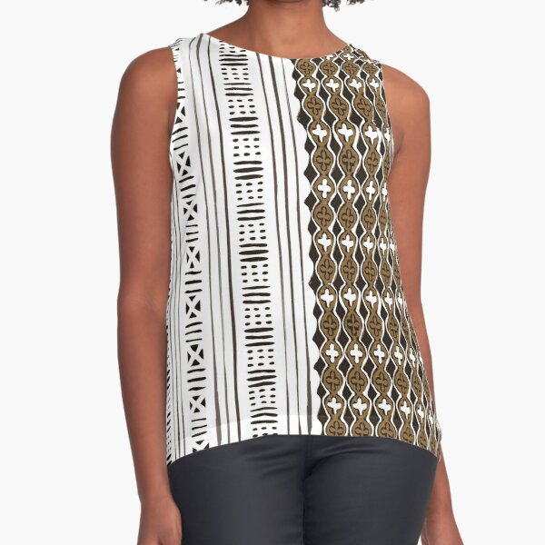 Traditional African Mudcloth - Mix Sleeveless Top