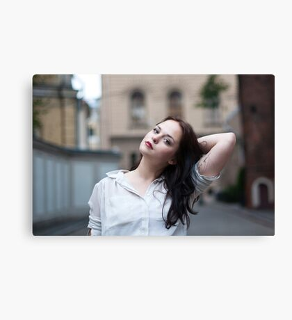 Girl with a tattoo Canvas Print