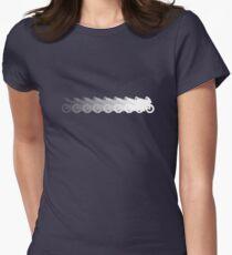 Motorrad schwarz weiß verlauf Tailliertes T-Shirt für Frauen