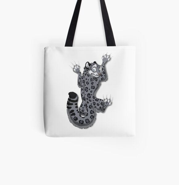Clinging Snow Leopard All Over Print Tote Bag
