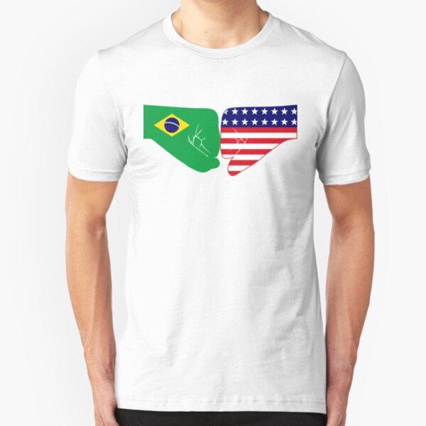 Brazil & USA Fist Bump Patriot Flag Series Slim Fit T-Shirt
