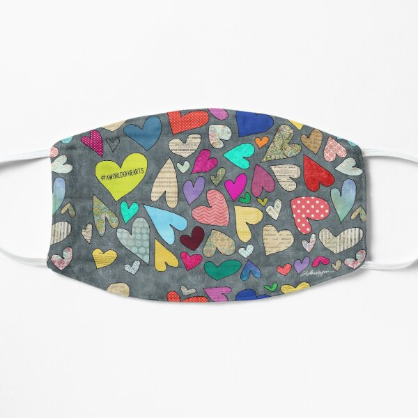 A World of Hearts - Bright, Whimsical and Colorful Heart Artwork Mask