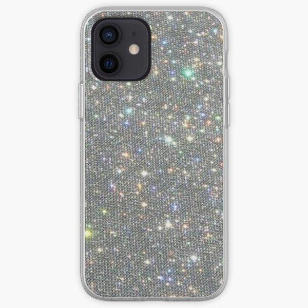 Silver Sparkle Glitter Design iPhone Soft Case