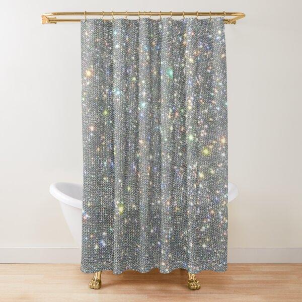 Silver Sparkle Glitter Design Shower Curtain