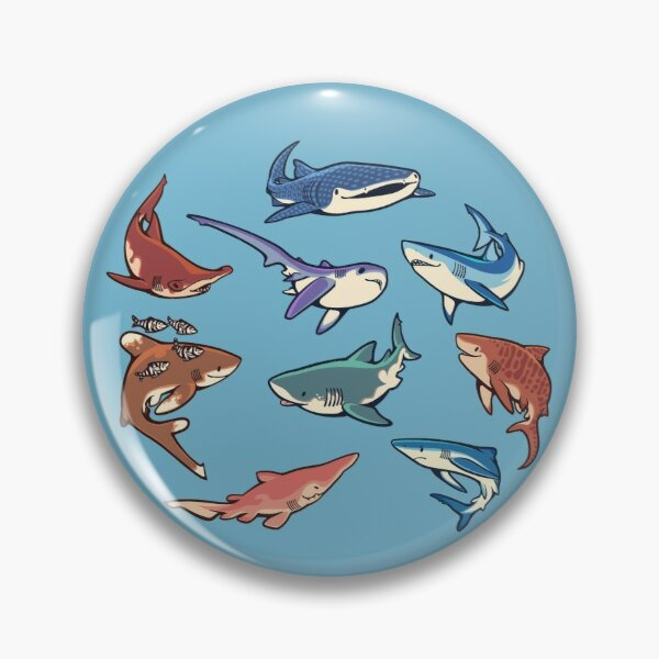 Sharks in the light blue Pin