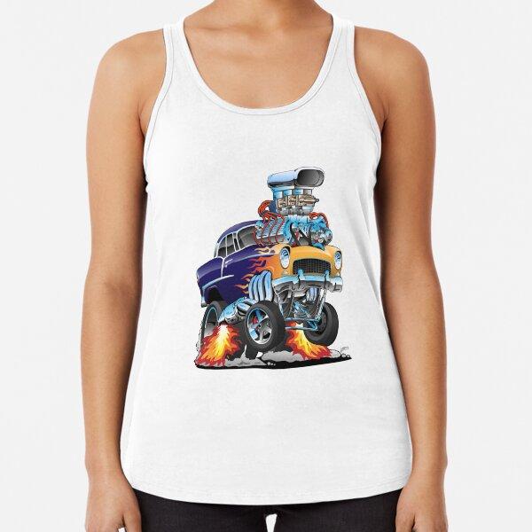 Classic Fifties Hot Rod Muscle Car Cartoon Racerback Tank Top
