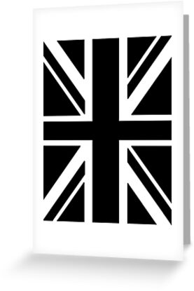 BRITISH, UNION JACK, FLAG, UK, GB, UNITED KINGDOM, PORTRAIT, IN BLACK by TOM HILL - Designer