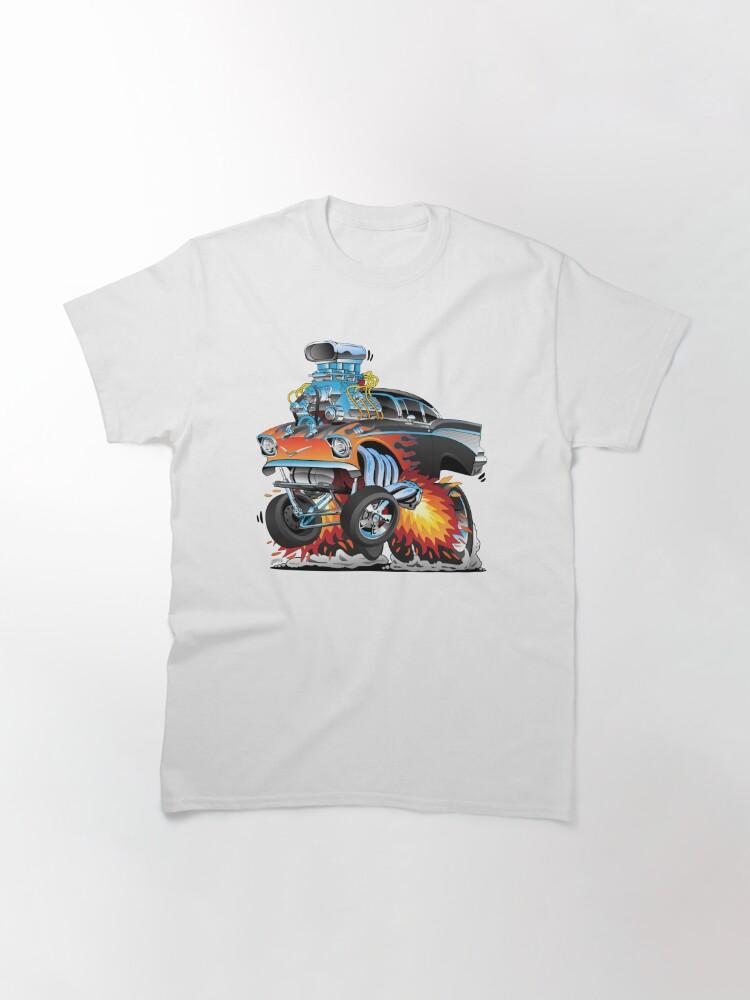 Alternate view of Classic hot rod 57 gasser drag racing muscle car cartoon Classic T-Shirt