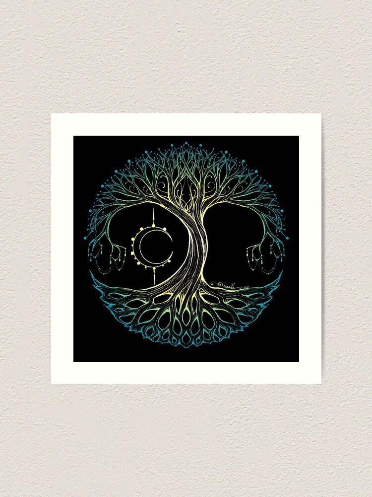 Alternate view of Dreamie's Tree of Life Elvish Blue Art Print
