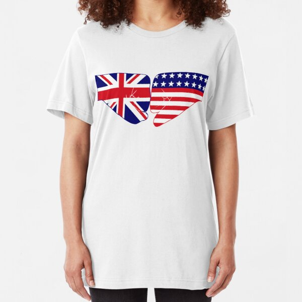 UK & USA Fist Bump Patriot Flag Series Slim Fit T-Shirt