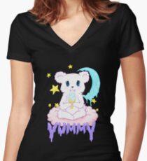 Moony Bear Women's Fitted V-Neck T-Shirt